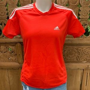 Deadstock ADIDAS Red 3 Stripe Climalite Shirt